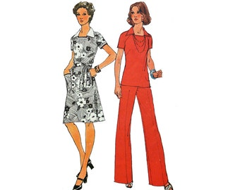 Vintage 70s Dress Pattern / Tunic Top & Bell Bottom Pants Pattern / Simplicity 6384 Bust 34 Pantsuit Patterns / 70s Vintage Sewing Patterns