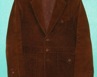 "1970s Vintage ""L'Avion"" Guys' Brown Corduroy Western-Cut Lined Jacket — size 40 or Medium"