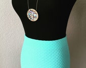 Midi Pencil Skirt // Mint Green Aqua Teal // Luxury Jacquard Knit // Urban Chic // Modern Mod Retro // CUSTOM // Made to Order FAST Shipping