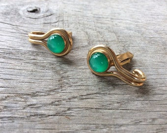 Vintage Gold and Green Cuff Links