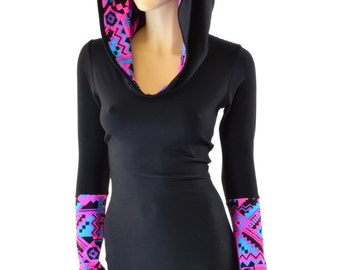 Black Soft Knit Long Sleeve Hoodie Romper  with Neon Pink & Black UV Glow Aztec Hod Lining and Cuffs 151561