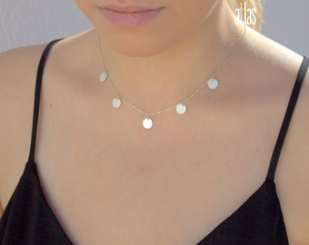 Silver & Gold and Rose discs Necklace - Trendy Celebrity Necklace