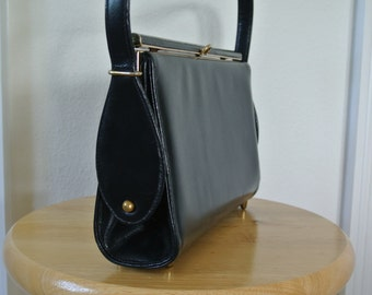 1960s Mod Retro Minimalist Kelly Handbag by Caprice Black Faux Leather Top Handle