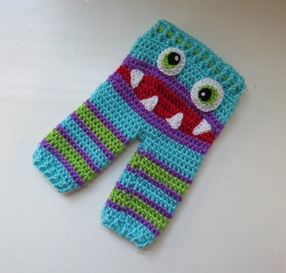 Crochet Pattern Baby Monster Pants : Monster Pants Crochet Baby Pants with Monster Face by ...