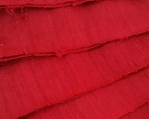 Ruby Shimmer Silk Ribbon by the metre. Upcycled Dupioni Silk Selvedge Offcut Fabric, Crisp, Slubby, Wide Silk Ribbon, Red Sari Ribbon Yarn