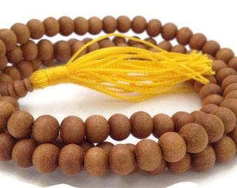 Natural Tibetan Sandalwood 108 Beads Full Mala Necklace for Meditation and Yoga
