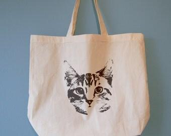 Cat Mug Shot Natural Cotton Tote Bag