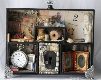 Once Upon A Family Shadow Box, Found Object, Assemblage