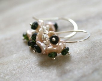 Pearl drop earrings, pearl tourmaline earrings, Keishi pink pearl earrings, silver ear wires, gift for her, pearl jewelry, bridal earrings