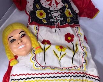 1960s Vintage Heidi Halloween Costume, Vintage Heidi Mask & Dress, Childs Halloween Costume