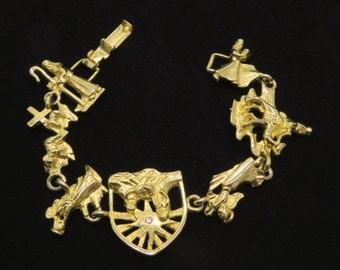 Vintage Angels Bracelet, Gold Tone Wise Men, Angels Religious Bracelet