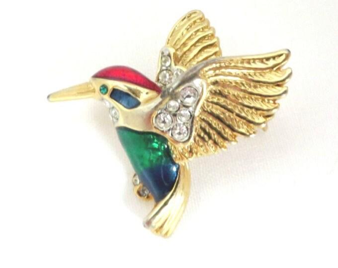 Rhinestone Hummingbird Brooch, Vintage Enameled Bird Pin, Gift for Her
