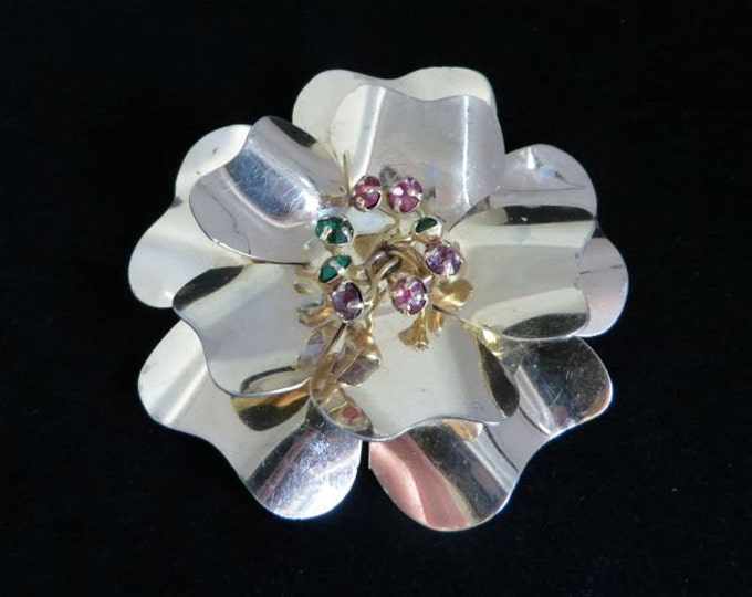 Sterling Silver Flower Brooch, Vintage Topaz Studded Large Pin, FREE SHIPPING