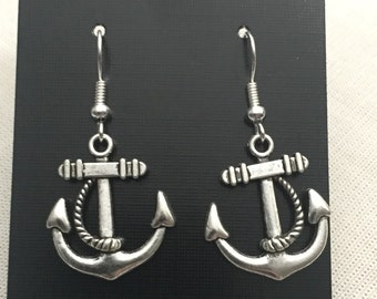 Anchor Nautical Earrings - Steampunk Inspired Silver Charm Anchor Jewellery end of line earring