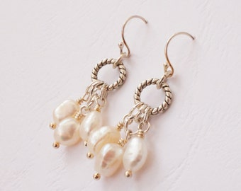 White earrings, pearl earrings, baroque pearl earrings, freshwater pearl earrings, cultured pearl earrings, pearl chandelier earrings