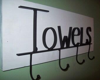 Rustic White Metal TOWEL Rack Bar Bathroom Towel HOOKS Wrought Iron Towel Bar Distressed Wood Housewarming GIFT Wedding Gift