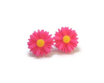 Bright Pink Daisy Earrings METAL FREE Plastic Post Earrings 12mm Pink Flower Studs Hypoallergenic for Sensitive Ears