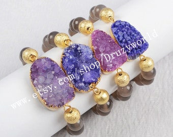 Wholesale Gold Plated Purple Agate Druzy Geode Bracelet With 10mm Grey Agate Beads Bracelet Natural Druzy Bracelet Gemstone Jewelry G0294
