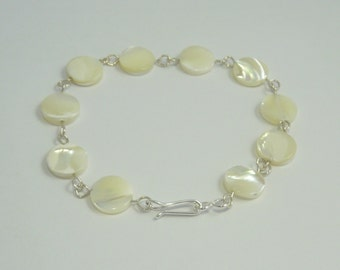 Sterling Silver & Mother of Pearl Disk Bracelet