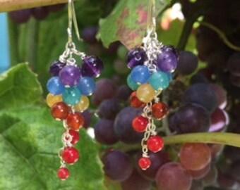 Aurora Rainbow Cluster drop wire wrapped Gemstone Earrings
