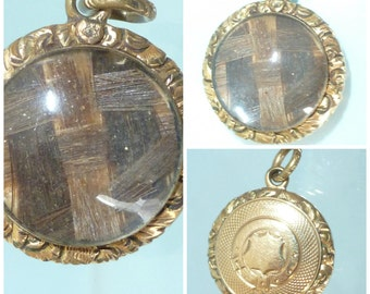 Edwardian Pinchbeck Mourning Hair Locket Pendant Shield Buckle detail Jewellery Antique
