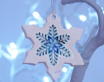 Handmade Ceramic Snowflake Decorations for Christmas
