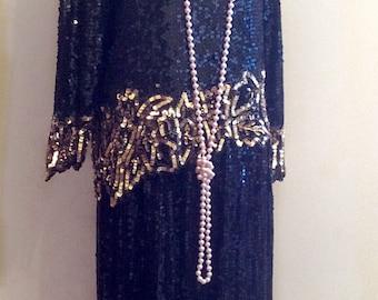 Black color all beaded silk the great gatsby dress, 1920s flapper dress for women, black silk gatsby dress 20s flapper dress for ladies