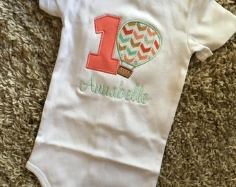 Applique One Year Hot Air Balloon - Perfect for your one year old's big day - Everyday wear - customizable