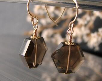 Smoky quartz jewelry. Solid 14K gold earrings. Yellow gold smoky quartz. Solid gold jewelry. Octagon earrings