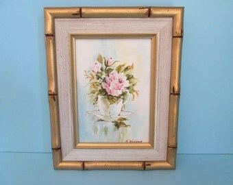 Vintage Floral Still Life - Acrylic Painting - Single Pink Rose with Buds