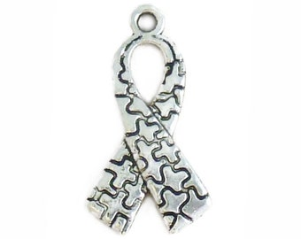 BULK 40 Autism Awareness Silver Puzzle Charm 26x14mm by TIJC - SP1071B
