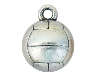 5 Silver Volleyball Charm Pendant 3D 14x11mm by TIJC SP0573