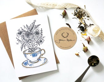 Card, comforting Cup of tea, greeting card, greeting card, card for tea lovers