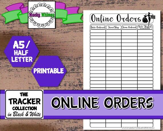 Online order tracker planner insert printable planner insert for Online planner