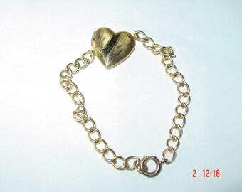 Vintage Gold Filled Heart Locket Bracelet