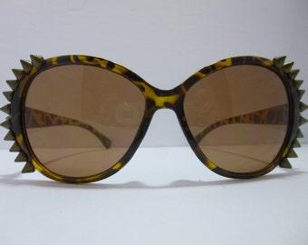 SNS-039 ~ Animal Print Sunnies w/ Bronze Spikes