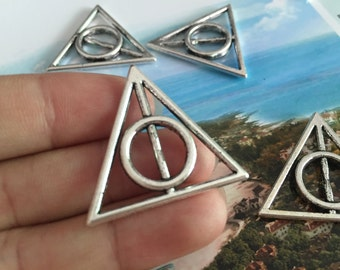 15pc antique silver 32mmx32mm Harry potter death charms