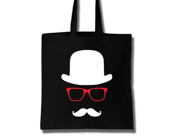 Cotton Tote Bag Women The Invisible Man with Mustache