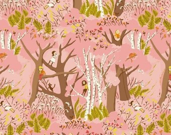 Climbing Trees in Pink by Heather Ross from the Tiger Lily collection for Windham