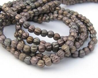 NEW Matte Metallic Leather 3mm Melon Fluted Round Czech Glass  Beads 100pc #3066