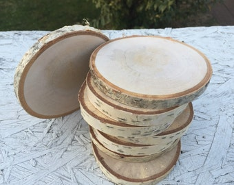 10 Log birch (2-3in) Wood coasters disks center piece diy Wedding party shower wooden rustic natural glam