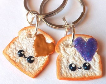 Peanut Butter Jelly Keychains - Best Friend Keychains - Kawaii Best Friends - Boyfriend Gift - Kawaii - Polymer Clay Charm - Cute Keychains