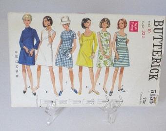 "vintage dress pattern, Butterick 5155, size 10, vintage sewing pattern, 1969, A-line dress, late 60s dress pattern, ""Mad Men"" era pattern"
