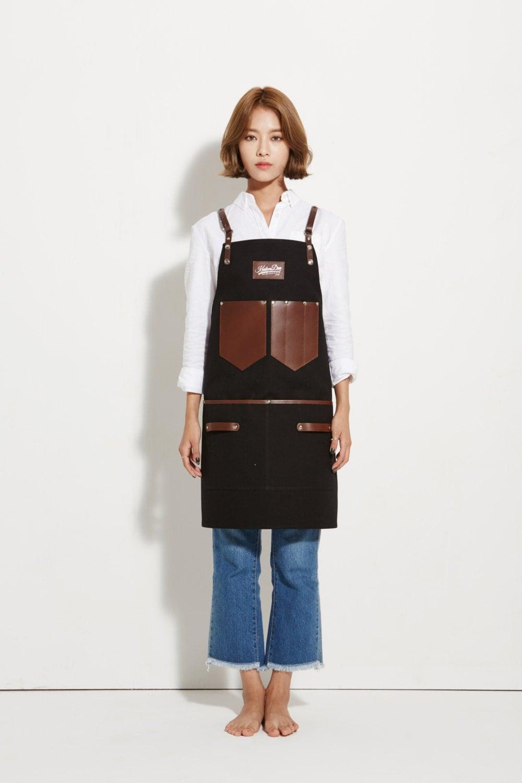 White apron canada - Barista Apron Black Canvas With Dark Brown Leather Strap Apron By Kustomduo