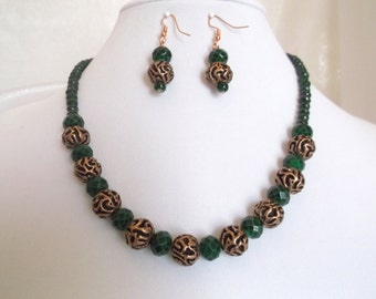 Faceted Green Glass and Copper 18.5 inch Necklace and Earrings Set