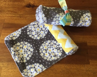 Minky Burp Cloths- Grey And Yellow