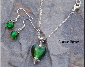 Necklace & Murano Glass Earrings