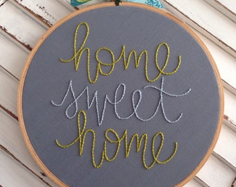 home sweet home . hand embroidery . wall hanging . home and living . new home . housewares . sign . gallery wall . gift . under 30 dollars