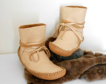 Handmade Moccasins, Ankle Wrap Moccasins, Ankle Boots, Natural Elk Hide Moccs, Buffalo Sole Moccasins, Boho, Hippie, Grounding Shoes