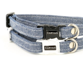 Cat Collar with Breakaway Safety Buckle - Denim - Kitten Size Also Available